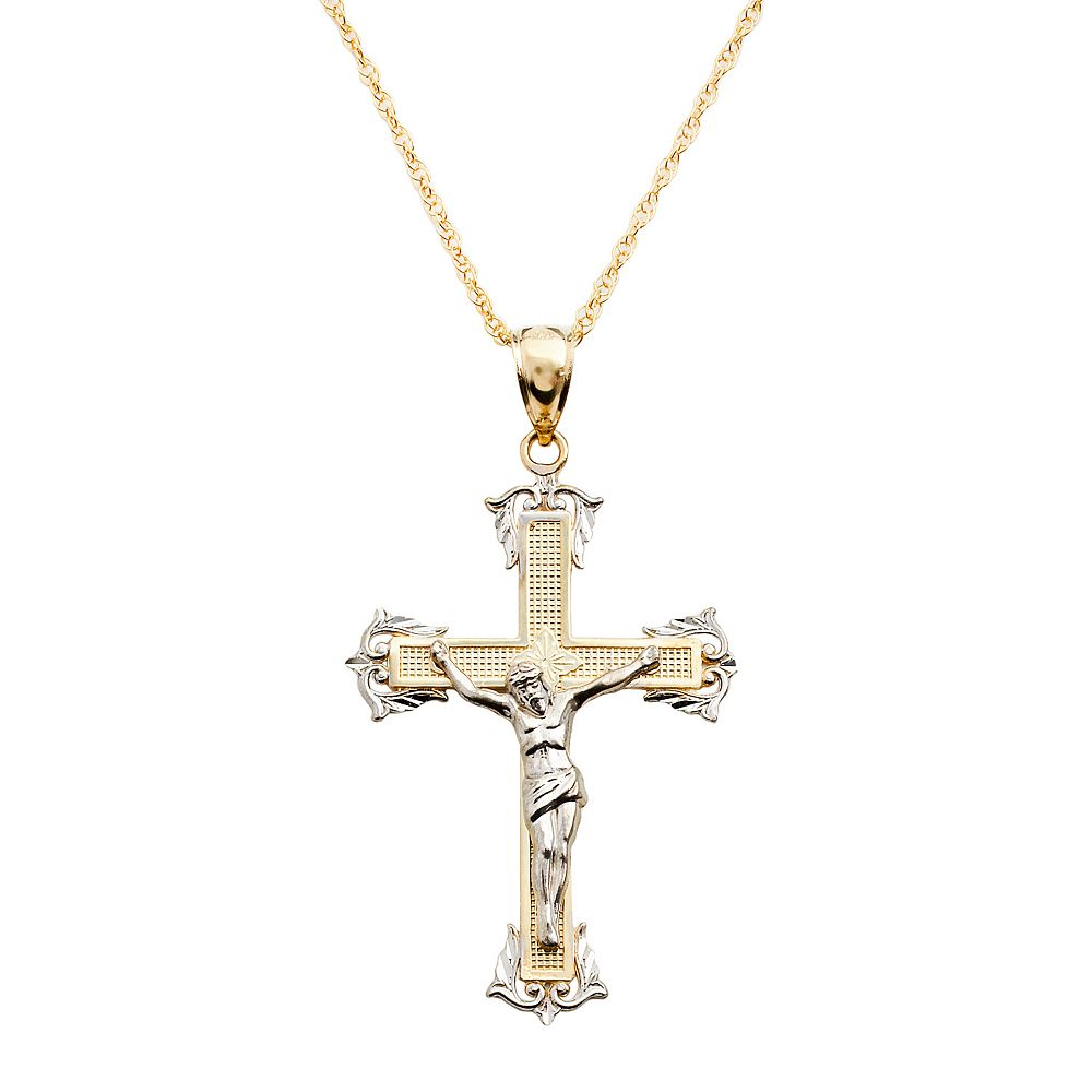 pendant crucifix christian exclusive products tri color catholic gold