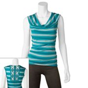 IZ Byer California Striped Drapeneck Crochet Sleeveless Top - Juniors