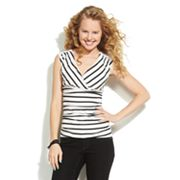 IZ Byer California Striped Crochet Ruched Top - Juniors