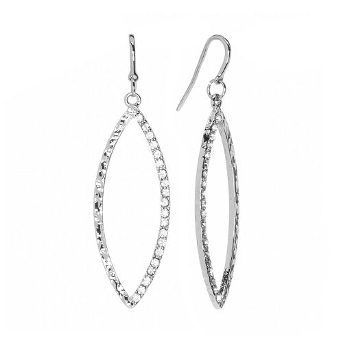 Jennifer Lopez Silver Tone Simulated Crystal Textured Marquise Hoop Drop Earrings