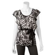 IZ Byer California Abstract Butterfly Chiffon Top - Juniors