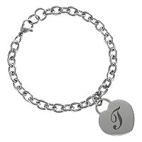 Sweet Sentiments Stainless Steel Initial Heart Charm Bracelet