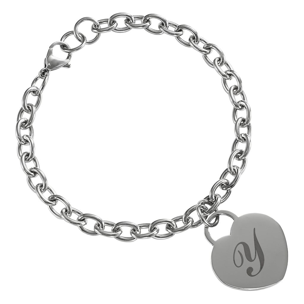 Sweet Sentiments Stainless Steel Initial Heart Charm Bracelet