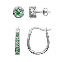 Sterling Silver Simulated Emerald & Diamond Accent Frame Stud & U-Hoop Earring Set