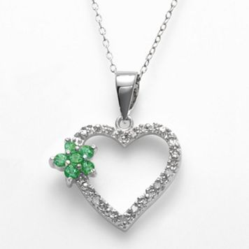 Sterling Silver 1/10-ct. T.W. Diamond & Simulated Emerald Flower Heart Pendant