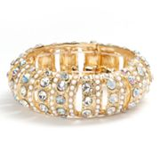 Jennifer Lopez Gold Tone Simulated Crystal Beaded Stretch Bracelet