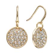 Jennifer Lopez Gold Tone Simulated Crystal Disc Drop Earrings