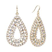 Jennifer Lopez Gold Tone Simulated Crystal Openwork Teardrop Earrings