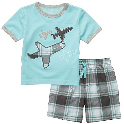 Carter's Airplane Tee and Plaid Shorts Set - Toddler