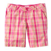 SO Plaid Chino Bermuda Shorts - Girls Plus