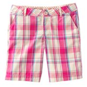 SO Plaid Chino Bermuda Shorts - Girls 7-16