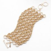 Jennifer Lopez Gold Tone Simulated Crystal Mesh Toggle Bracelet