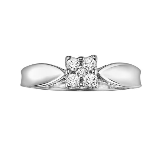 Love Always Round-Cut Diamond Engagement Ring in Platinum Over Silver (1/5 ct. T.W.)