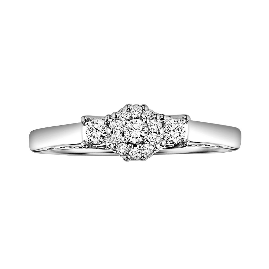 Love Always Round-Cut Engagement Ring in Platinum Over Silver (1/5 ct. T.W.)