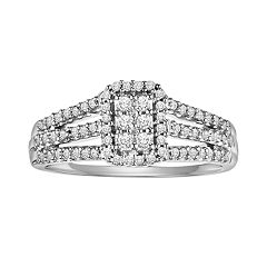 Love Always Round-Cut Diamond Frame Engagement Ring in Platinum Over Silver (1/3 ctT.W.)