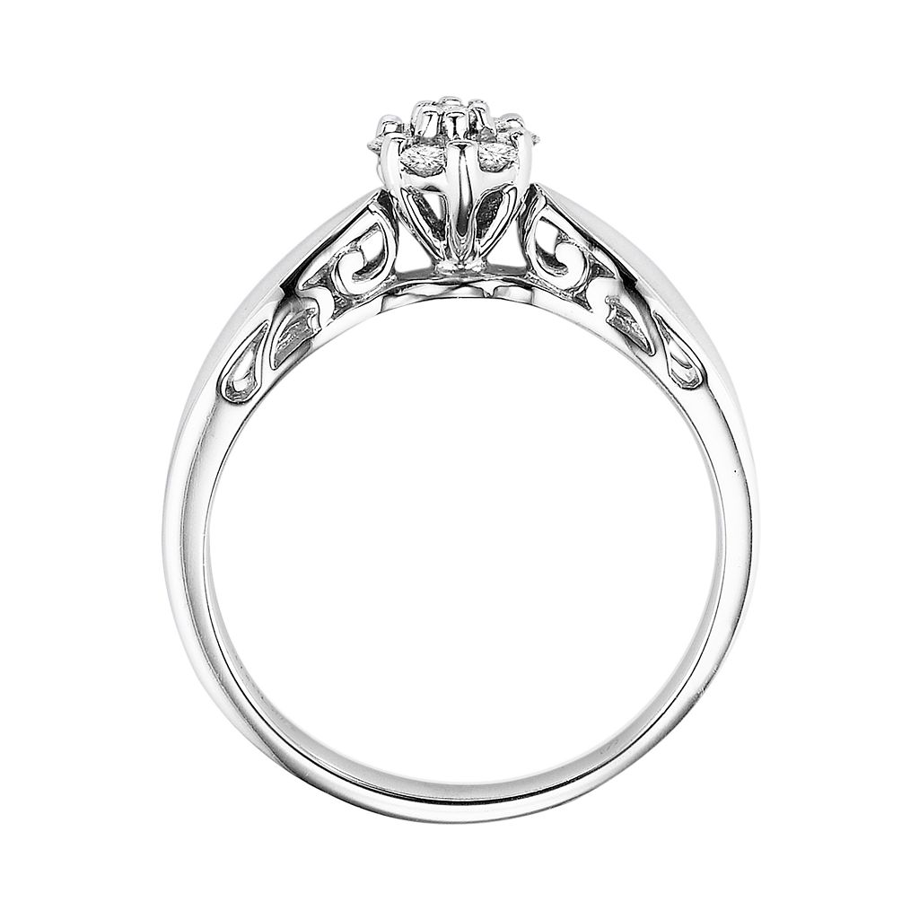 Love Always Round-Cut Diamond Flower Engagement Ring in Platinum Over Silver (1/5 ct. T.W.)