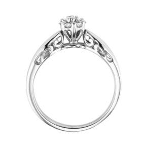 Love Always Round-Cut Diamond Flower Engagement Ring in Platinum Over Silver (1/5 ct. T.W.)