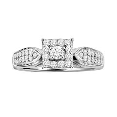 Love Always Round-Cut Diamond Frame Engagement Ring in Platinum Over Silver (1/2 ctT.W.)