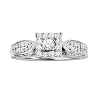 Love Always Round-Cut Diamond Frame Engagement Ring in Platinum Over Silver (1/2-ct. T.W.)
