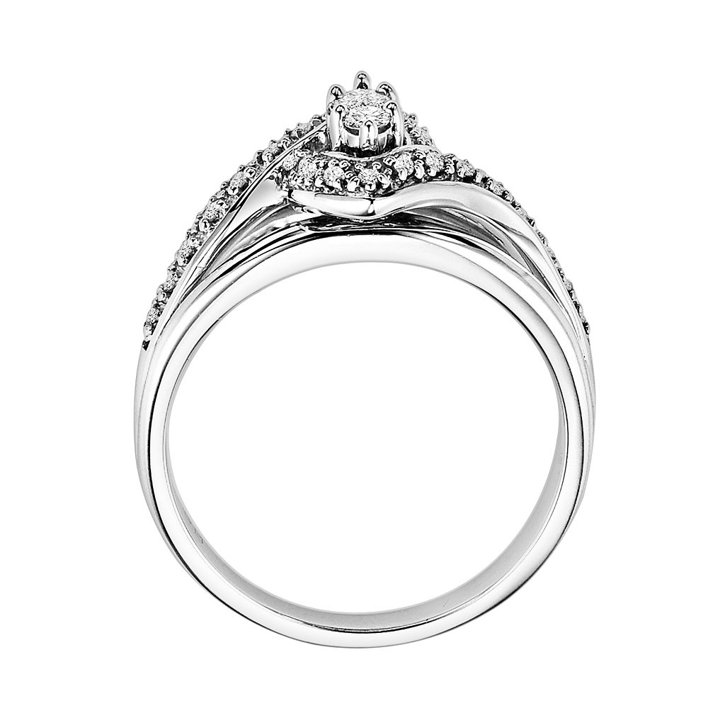 Love Always Diamond Frame Engagement Ring in Platinum Over Silver (1/5 ct. T.W.)