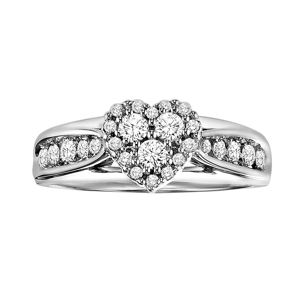 Love Always Round-Cut Diamond Heart Engagement Ring in Platinum Over Silver (1/2-ct. T.W.)