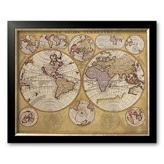 Art.com 'Antique Map, Globe Terrestre, 1690' Framed Art Print by Vincenzo Coronelli