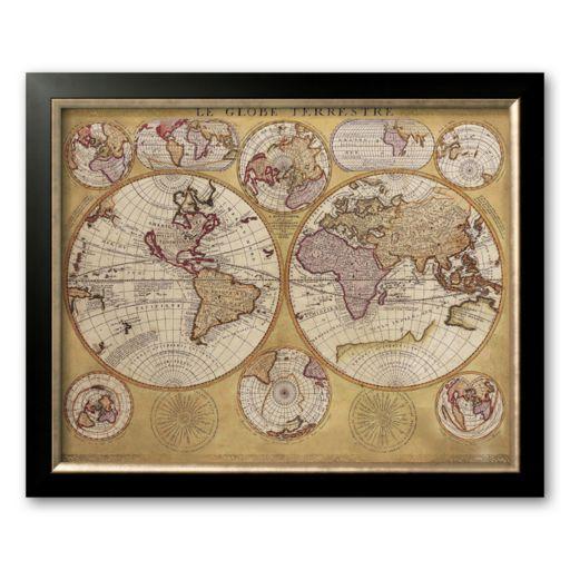 Art.com Antique Map, Globe Terrestre, 1690 Framed Art Print by Vincenzo Coronelli