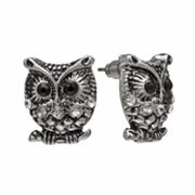 Mudd Silver Tone Simulated Crystal Owl Button Stud Earrings