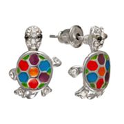 Mudd Silver Tone Simulated Crystal Turtle Button Stud Earrings