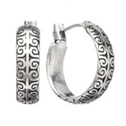 Chaps Silver Tone Scroll Hoop Earrings