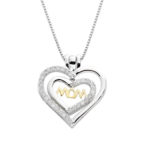 18k Gold Over Silver and Sterling Silver 1/2-ct. T.W. Diamond Interchangeable Mom Heart Pendant