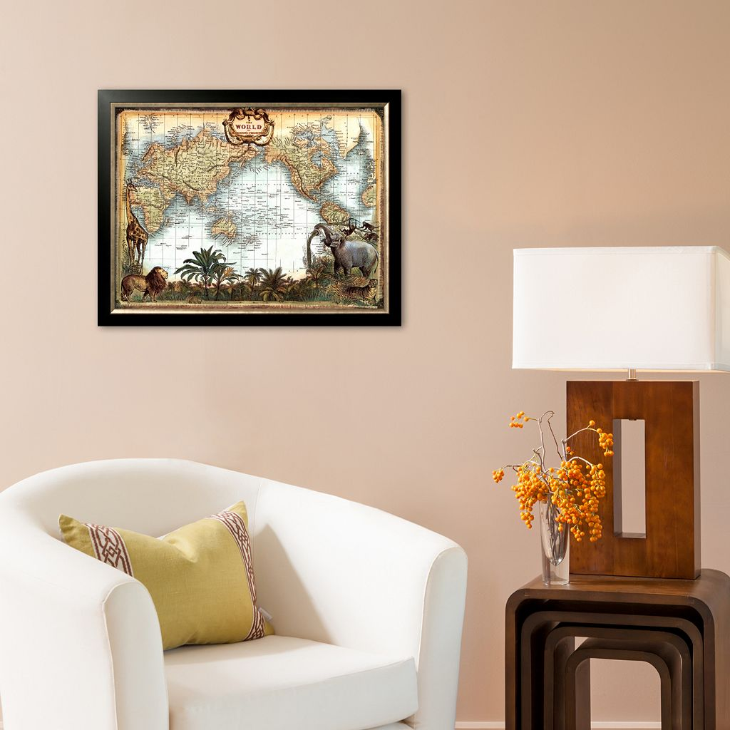 Art.com World Map Framed Art Print