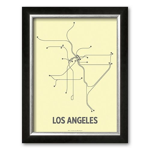 Art.com Los Angeles (Light Yellow and Dark Gray) Framed Art Print by Line Posters