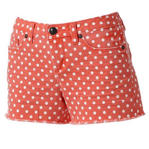 LC Lauren Conrad Polka-Dot Distressed Cut-Off Denim Shorts