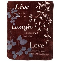'Live Laugh Love' Hi Pile Super Plush Throw Blanket