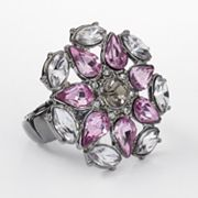 Simply Vera Vera Wang Jet Simulated Crystal Flower Stretch Ring