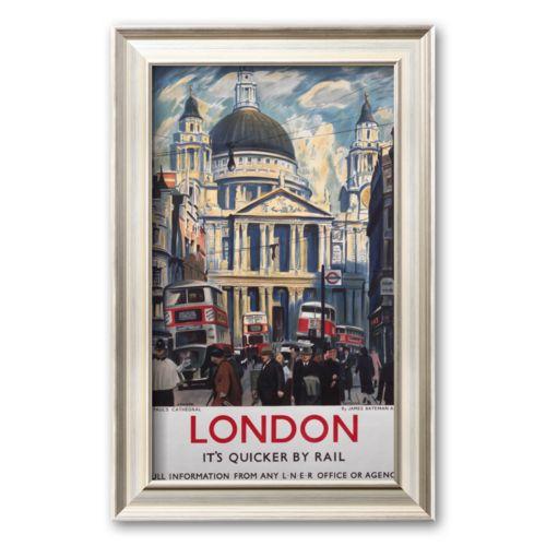 Art.com London, It's Quicker by Rail Framed Art Print