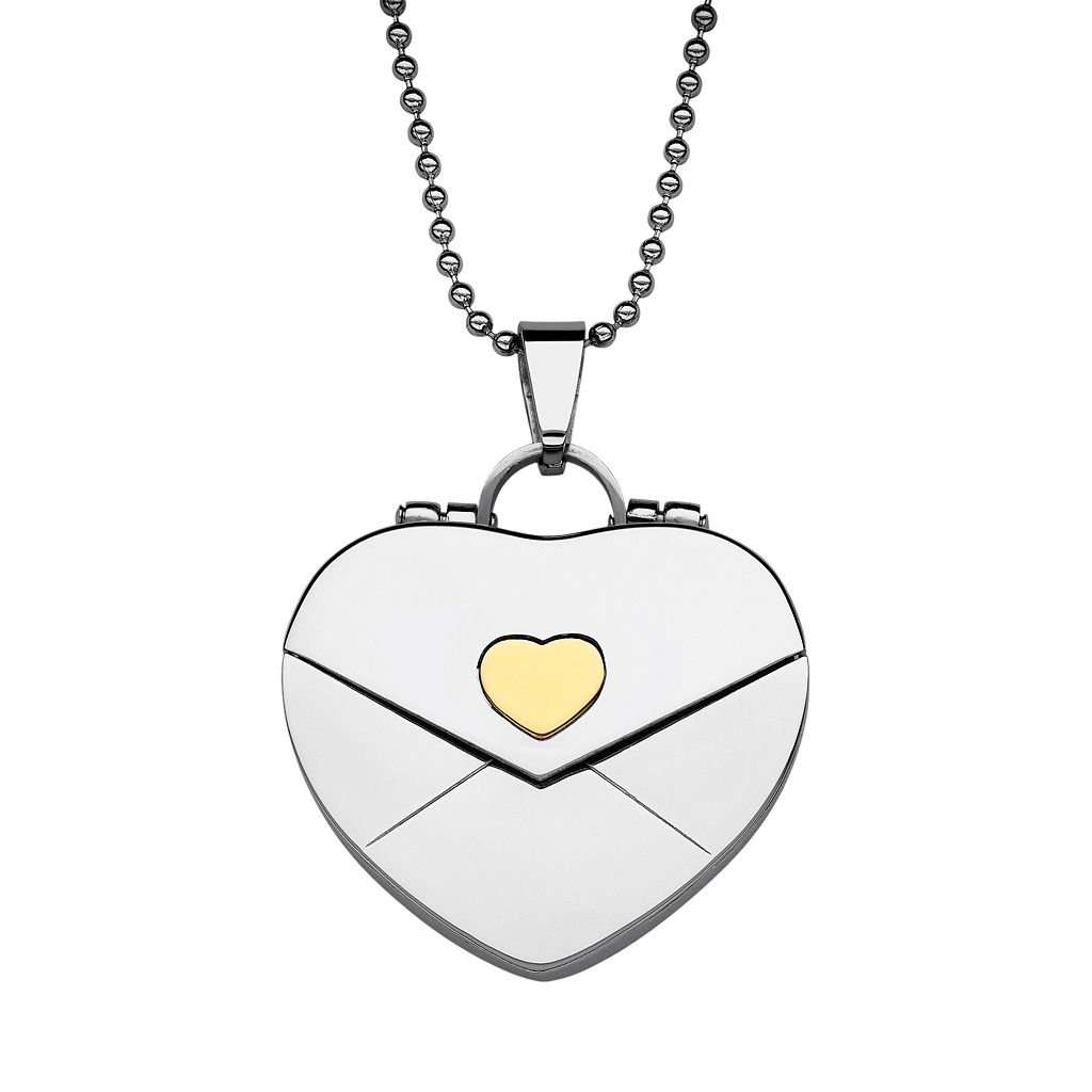 Sweet Sentiments Stainless Steel & Gold Ion Envelope Heart Locket