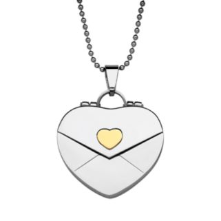 Sweet Sentiments Stainless Steel and Gold Ion Envelope Heart Locket