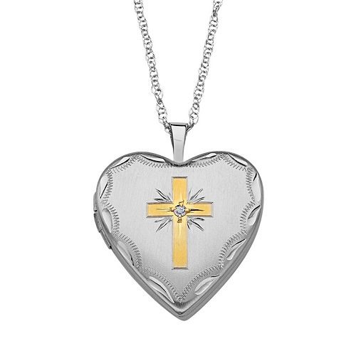 Sweet Sentiments Gold Tone Over Silver & Sterling Silver Diamond Accent Cross Reversible Heart Locket