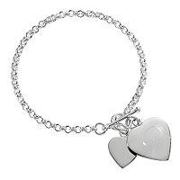 Sweet Sentiments Sterling Silver Initial Heart Charm Bracelet