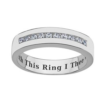 Sweet Sentiments Sterling Silver Cubic Zirconia Wedding Ring