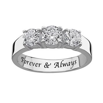 Sweet Sentiments Round-Cut Cubic Zirconia 3-Stone Engagement Ring in Sterling Silver