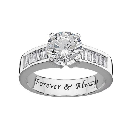 Sweet Sentiments Cubic Zirconia Engagement Ring in Sterling Silver