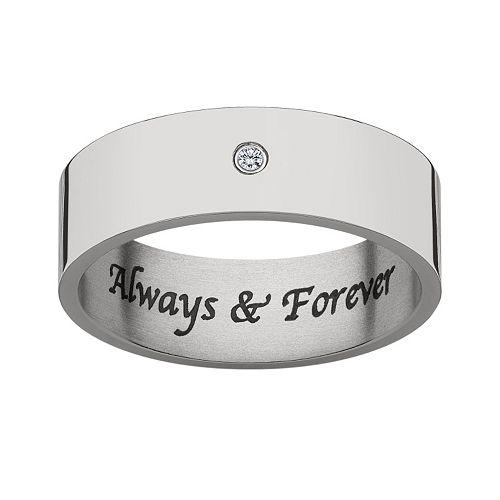 Sweet Sentiments Diamond Accent Titanium Wedding Ring