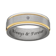 Sweet Sentiments Titanium & Gold Ion Diamond Accent Wedding Band - Men