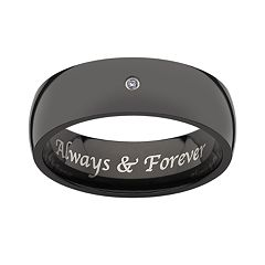 Sweet Sentiments Black Titanium Diamond Accent Wedding Band - Men