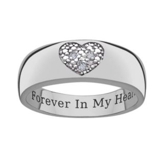 Sweet Sentiments Sterling Silver Diamond Accent Heart Band Ring