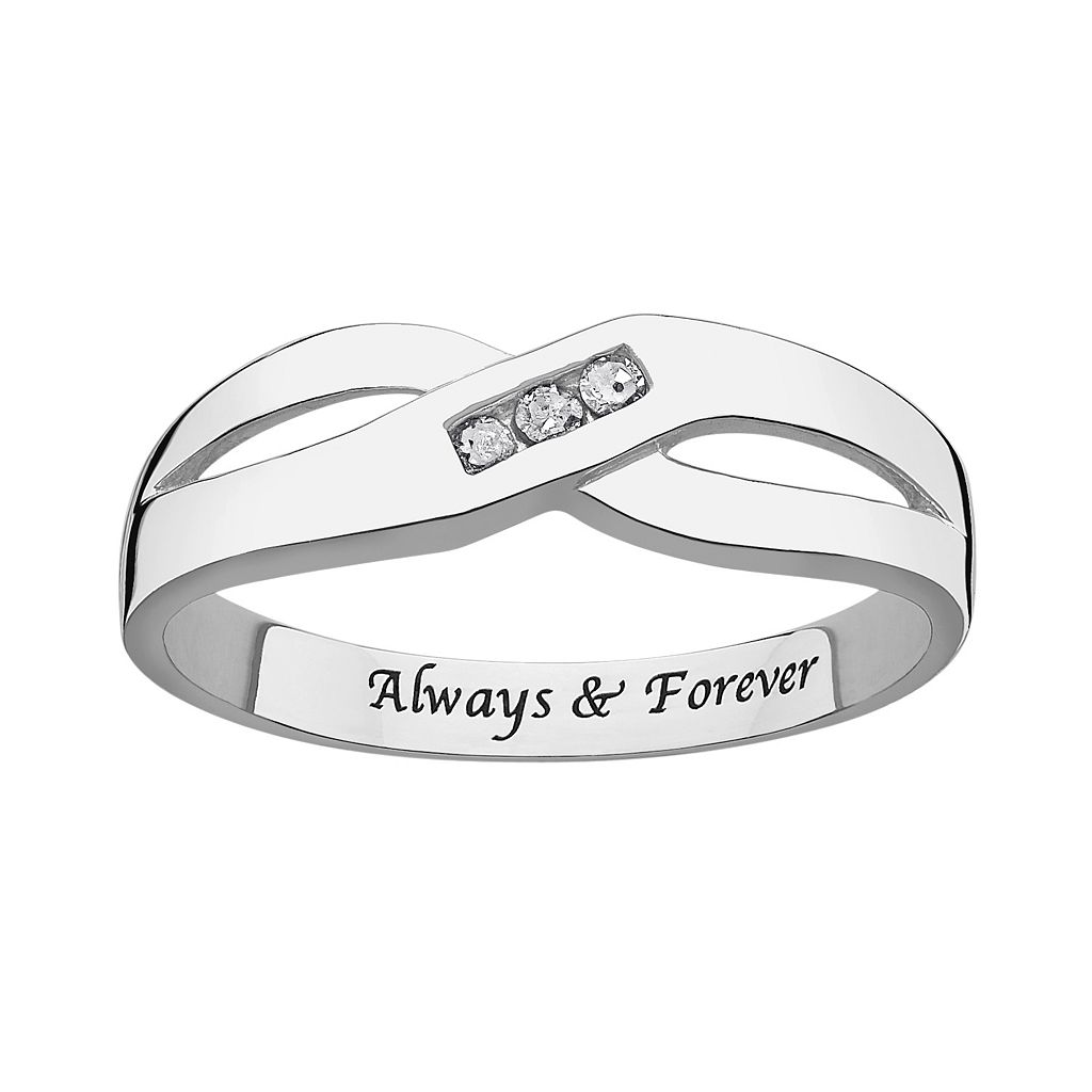 Sweet Sentiments Sterling Silver Diamond Accent Crisscross Ring