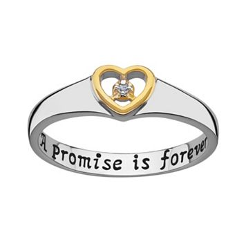 Sweet Sentiments Gold Over Silver & Sterling Silver Diamond Accent Heart Ring